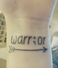 Semicolon Warrior tattoo...I am a fighter, I am strong; my story isn't over yet
