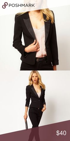 Tuxedo blazer ASOS single button tuxedo blazer. Lapels, cuffs, and pocket details are in a satiny fabric. ASOS size 6 US, which is more like a size 4 in my experience. ASOS Jackets & Coats Blazers