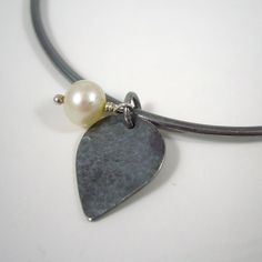 Oxidised Sterling Silver Teardrop Pearl Charm Bangle £20.00