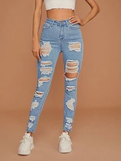 Girls Fashion Clothes, Teen Fashion Outfits, Mode Outfits, Cute Ripped Jeans, High Waist Ripped Jeans, Polyester Material, Denim Fabric, Tee Dress, Cute Casual Outfits