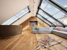 Architecture, Awesome Glass Roof House Of Punktchen By DYNAMO Studio Germany Featuring Interior Design With Hardwood Floor And Grey Sectional Sofa ~ Lovely House Renovation Ideas by Transforming Century Building Residential Architecture, Interior Architecture, Interior And Exterior, Modern Exterior, Attic Rooms, Attic Spaces, Attic Loft, Casa Milano, Glass Roof