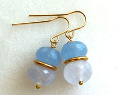 Micro-faceted Cornflower and Holly Blue Chalcedony, 22kg Vermeil Earrings...