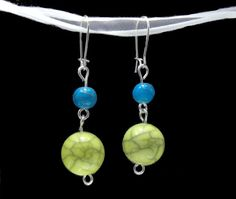 Lime Green and Teal Round Bead Earrings by TheRaspberryBasket