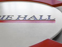 "Carnegie Hall Lectern Logo - Design and Fabrication, 2014 - Engraved Corian with Infill - 21"" x 21"" x ½"""