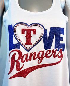 Love the Rangers glitter and rhinestone flowy by ShoutitOutApparel