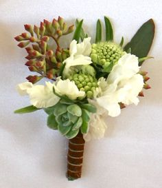 Green Succulents and White Flowers - Boutonniere Prom Corsage And Boutonniere, Succulent Boutonniere, Boutonnieres, Corsages, Succulent Bouquet, Wedding Arrangements, Floral Arrangements, Wedding Bouquets, Flowers For Men