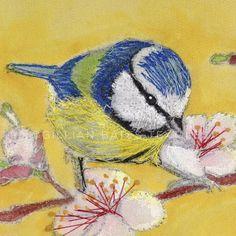 'Blue Tits on Cherry Blossom' Hand & Machine Embroidered Art Canvas ©gillianbates 2016
