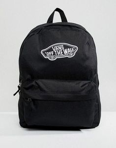 5df52287b Vans Realm Black Backpack #travelbackpackstyle Vans Backpack Girls, Black  Backpack School, Backpack Purse