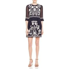 French Connection Kiko Embroidered Dress (283,250 KRW) ❤ liked on Polyvore featuring dresses, nocturnal, french connection dresses, embroidery dress, embroidered dress and french connection