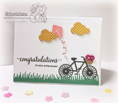 Your Next Stamp Card YNS Supplies: Cute Bike and Kite die set Congratulations On Your Achievement, Show Case, Kite, Cardmaking, Card Ideas, Cloud, Projects, Cards, Stamp Card