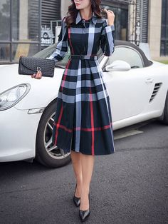 Navy Blue Plaid Belt Turndown Collar Long Sleeve Midi Dress I would definitely wear this, a bit longer, with black boots Outfits with boots 54 Modest Street Style Ideas To Rock This Fall - Luxe Fashion New Trends Trendy Dresses, Cute Dresses, Beautiful Dresses, Midi Dresses, A Line Dresses, Knee Length Dresses, Casual Dresses For Girls, Fall Dresses, A Line Dress Work