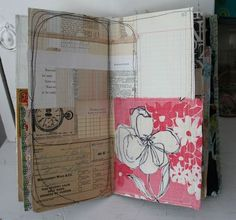 Patty Van Dorin zipper journal - love all the stitched papers