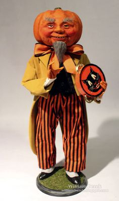 Meet Colonel Pumpkin, a rather distinguished Southern Squash by W. Retro Halloween, Halloween Doll, Halloween Ghosts, Fall Halloween, Halloween Ideas, Halloween Paper Crafts, Halloween Decorations, Pumpkin People, Halloween Wallpaper