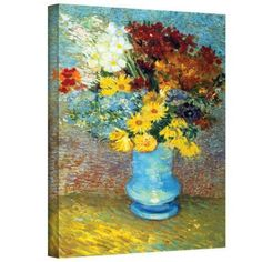 Vincent Van Gogh Flowers In Blue Vase Wrapped Canvas Art, Size: 24 x 32, Orange