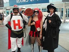 """Assorted cosplayers, including Harley Quinn from """"Batman""""..."""
