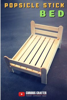 How to build a miniature popsicle stick bed for a dollhouse by Curious Crafter. Hope you like it!