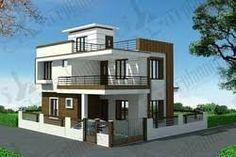 for house duplex duplex house plans duplex floor plans ghar planner Flat Roof House Designs, House Outer Design, House Roof Design, 2 Storey House Design, Bungalow House Design, Small House Design, Small Bungalow, Design Homes, Indian Home Design