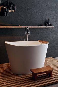 Aquatica True Ofuro Freestanding Stone Japanese Soaking Bathtub #Japanese #Japanesebathtub