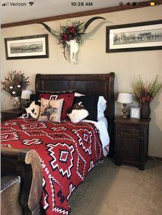 25 Western Home Decor Bedroom Rustic Bedroom Design, Home Decor Bedroom, Bedroom Ideas, Rustic Bedrooms, Master Bedroom, Western Rooms, Western Bathrooms, Western Bedding, My New Room