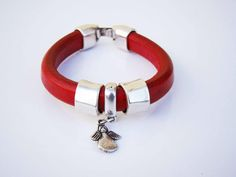 Sales & orders: 4me.bijuteria@gmail.com    Red leather bracelet with angel pendant | Refª PAJ001 - 14€