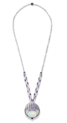 Chaumet Lumieres d'Eau high jewellery necklace in white gold, created for the Biennale des Antiquaires in Paris, set with a 59.58 ct cabochon-cut white opal and opal motifs from Ethiopia, round and oval-cut violet sapphires from Ceylon and Madagascar, oval-cut and brilliant-cut diamonds, and faceted diamond and amethyst beads.