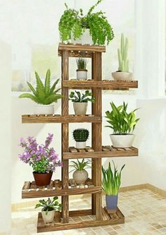 100 Beautiful DIY Pots And Container Gardening Ideas - Best Home Decor Ideas Tall Plant Stands, Wood Plant Stand, Stand Tall, Tall Plant Stand Indoor, House Plants Decor, Plant Decor, Tall Plants, Indoor Plants, Hanging Plants