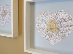 Cut out maps of where you have lived for easy DIY art