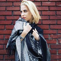 Our #IAMDYNAMITE profile Iris Campo makes a statement in this gorgeous Aztec, reversible poncho