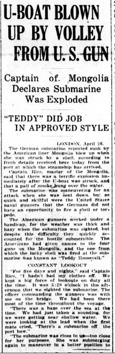 "WWI, 26 April 1917; ""Americans had given names to the 4 guns on the Mongolia"" - Evening Public Ledger, Philadelphia"