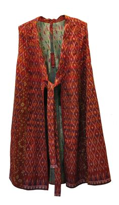Beautiful, handmade reversible women's long vest - silk Kantha - rich colors of red and maroon - dry clean only - SOLD OUT
