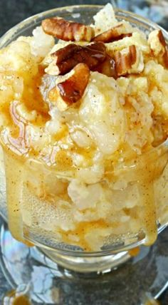 Old Fashioned Rice Pudding Recipe with Salted Caramel and Toasted Pecans