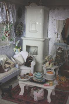 Lasituvan Miniatyyrit: Olohuone ja uusi takka - livingroom and a new fire...