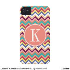 Colorful Multicolor Chevron with Coral Monogram iPhone 4 Cover #iphone #iphonecase #iphonecover