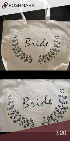 Bride Tote Brand new cotton bag with bride written in black. Cute heart  design. Poshmark 762b069237