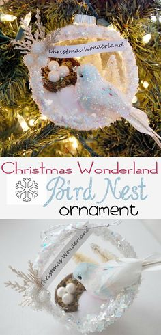 www.creativemeinspiredyou.com Christmas ornaments are best when homemade, this pretty bird with next is sparkly and eye catching. Christmas, decorating, ornaments, christmas tree, homemade, handmade, diy, holiday, birds, sparkle, nest, winter, snow.