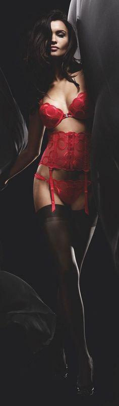 Brunette in red lingerie at night
