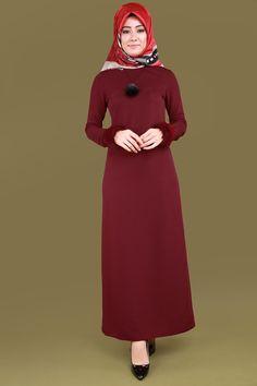 ** YENİ ÜRÜN ** Peluş Manşetli Tesettür Elbise Bordo Ürün kodu: LRJ6143 --> 74.90 TL