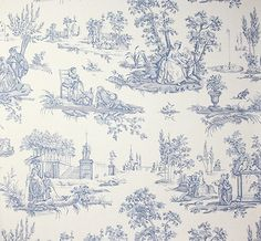 Courting Toile Wallpaper A traditional small scale toile de jouy wallpaper in blue on a mottled beige background