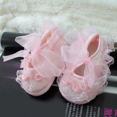 Baby-Schuhe mit Schleife, 0 - 3 Monate, Rosa