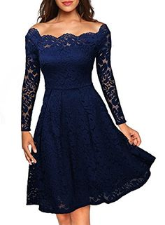 online shopping for ASCHOEN Women's Vintage Floral Off Shoulder Lace Long Sleeve Boat Neck Cocktail Formal Swing Dress from top store. See new offer for ASCHOEN Women's Vintage Floral Off Shoulder Lace Long Sleeve Boat Neck Cocktail Formal Swing Dress Lace Party Dresses, Spring Dresses, Elegant Dresses, Day Dresses, Evening Dresses, Dress Party, Woman Dresses, Prom Dresses, Party Wear