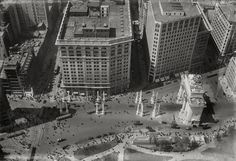 Aerial view of the Commodore Dewey Arch,  at Broadway and Fifth Avenue, during NYC's Gilded Age, c.1900.