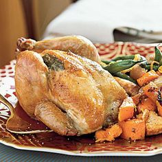 Cornish Game Hens with Butternut Croutons | Serve these succulent, single-serving hens on a large platter family style, or plate them individually. Either way, be sure to warm your serving dishes in advance. Generally, 1-pound hens are the perfect size. | SouthernLiving.com