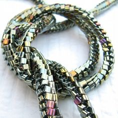 herringbone with tila beads