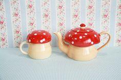 Teapot and Mug - Red Mushroom #PinTeaTuesday