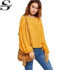 Sheinside Yellow Lantern Sleeve Drawstring Shirt O Neck Loose Top Fall Women's Clothing Plain Basic Blouse