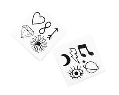The Mini Pack includes10 mini sets of hand-drawn, Coachella approved temporary tattoos, includingemojis, star signs and festival foods (too cute!) All you nee