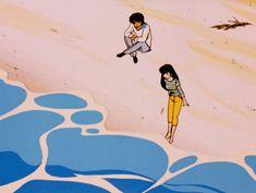 vaporwave, cyberpunk and retrowave aesthetic stuff. Aesthetic Drawing, Aesthetic Gif, Retro Aesthetic, Aesthetic Videos, Anime Gifs, Anime Art, Principles Of Animation, Nostalgia Art, Beach Illustration