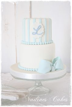"baby shower cake - Baby ""D"" light blue and light pink Gateau Baby Shower, Baby Shower Cakes, Baby Boy Cakes, Cakes For Boys, Gorgeous Cakes, Pretty Cakes, Cupcakes Lindos, Gateaux Cake, Blue Cakes"