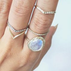 Misa Jewelry's Moonstone Cove Ring stacked with Mini Beak Diamond Rings, Thin Diamond Ring & Beak Ring!