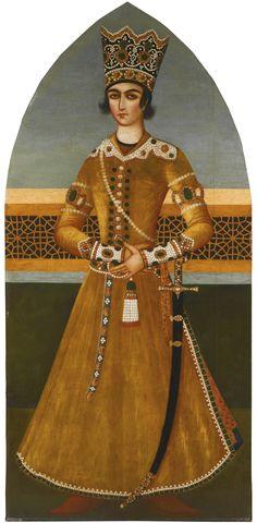 LARGE PORTRAIT OF CROWN PRINCE 'ABBAS MIRZA, ATTRIBUTABLE TO MIHR 'ALI, PERSIA, QAJAR, CIRCA 1800